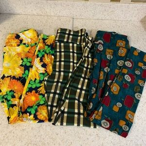 Bundle LuLaRoe OS Leggings multi yellow green